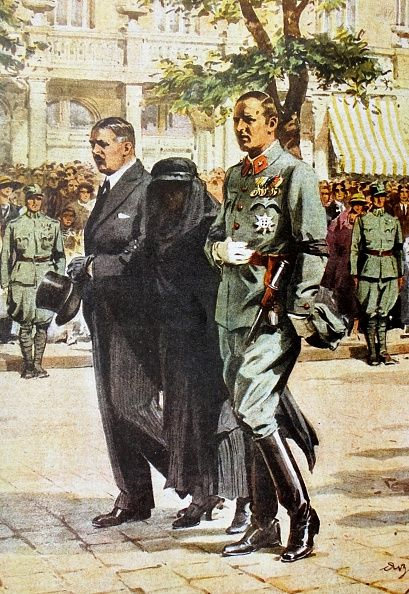 Alwine Dollfuss Widow of the Austrian Chancellor is escorted by Kurt Alois Schuschnigg following the assassination of his predecessor Engelbert...