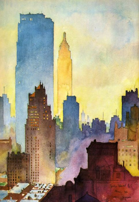 The city. To paint. --- Really wish I knew the title and artist on this one. It's a beautiful watercolor of New York City at dawn. You know how the Chrysler Building is my architectural crush, and you can just barely make it out. <3