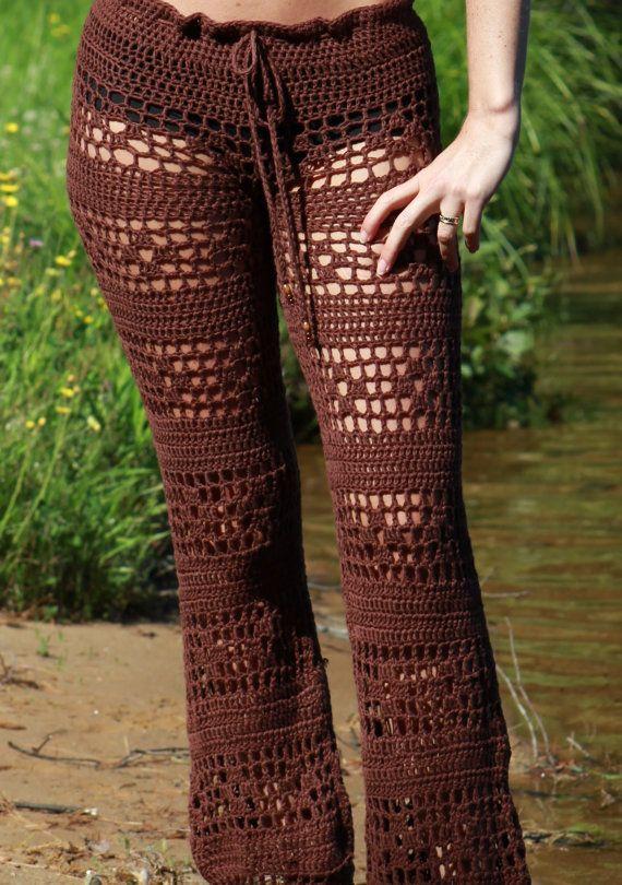 Sexy Low Waist Hand Crochet Long Pants Beach by CokettaBeachwear