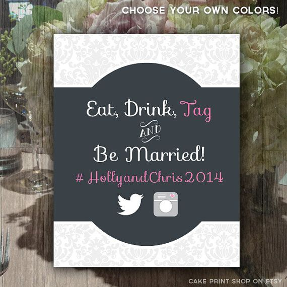 Instagram wedding sign, eat drink and be married, printable wedding , wedding hashtag, wedding instagram, wedding printable, wedding digital on Etsy, $14.16 AUD