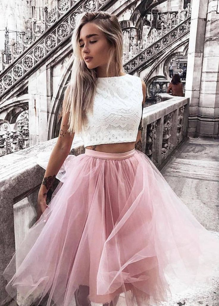 #fall #outfits tulle pastel skirt crop top