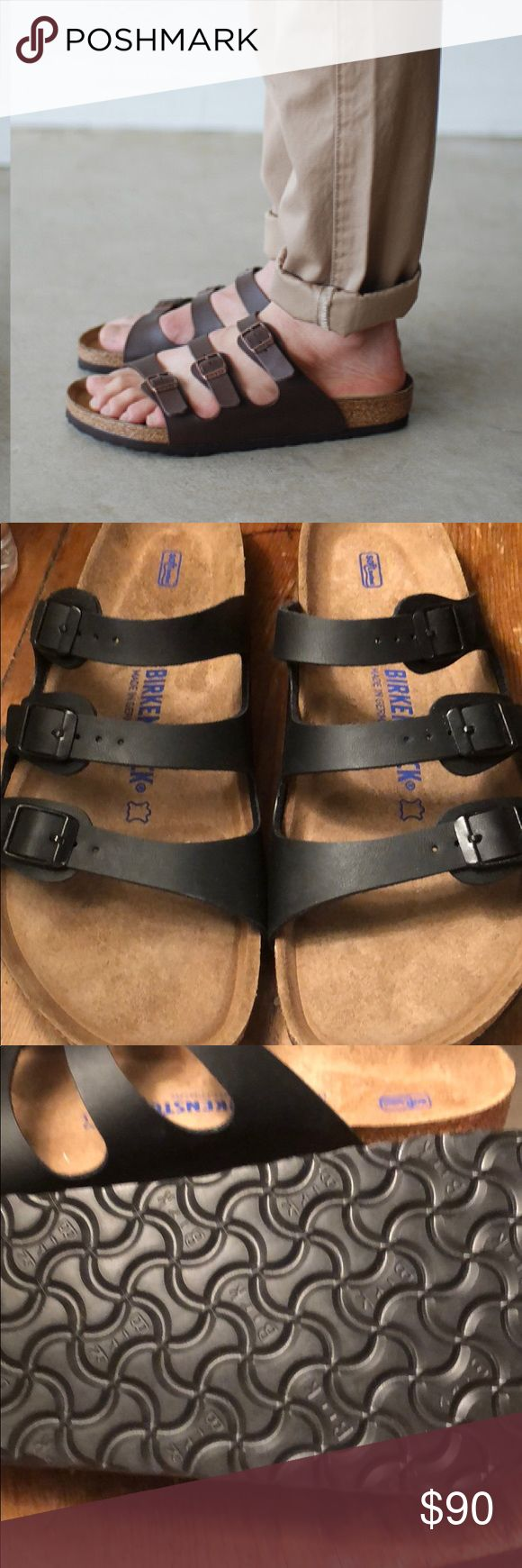 NEW BIRKENSTOCKS FLORIDA 42 Men's 9 Ladies 11 BIRKENSTOCKS FLORIDA 3 Strap 42 Men's 9 Ladies 11 NEW - NEVER WORN - NO BOX model is wearing brown - using pic to show fit.... mine are black. Birkenstock Shoes Sandals & Flip-Flops
