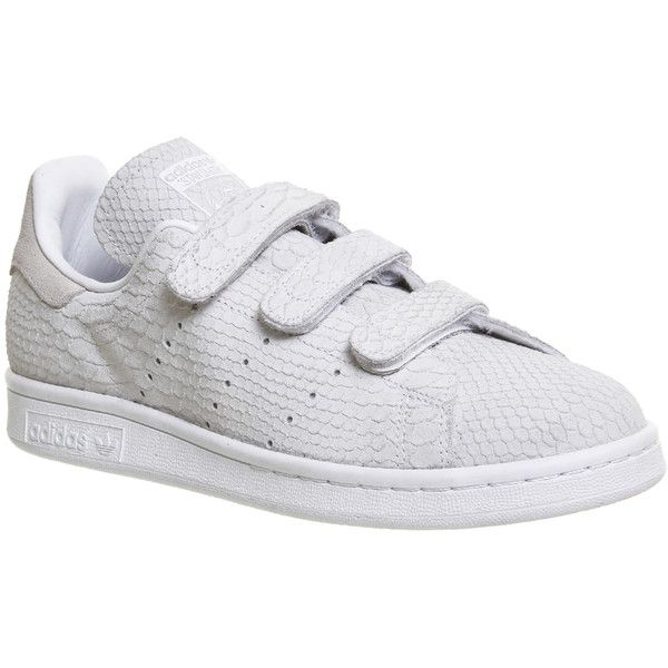Adidas Stan Smith Cf Trainers (1,870 MXN) ❤ liked on Polyvore featuring shoes, sneakers, trainers, triple white, unisex sports, velcro sneakers, adidas, sport sneakers, white velcro shoes and snake shoes