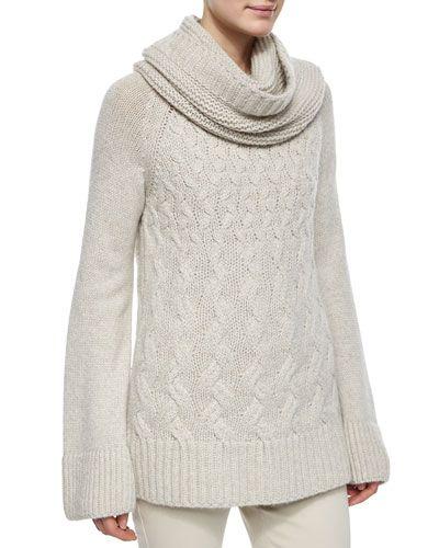 B2XMB Loro Piana Cashmere Chunky Cable-Knit Tunic Sweater