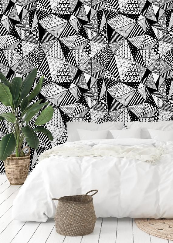 Black And White Geometric Shapes Removable Wallpaper Peel