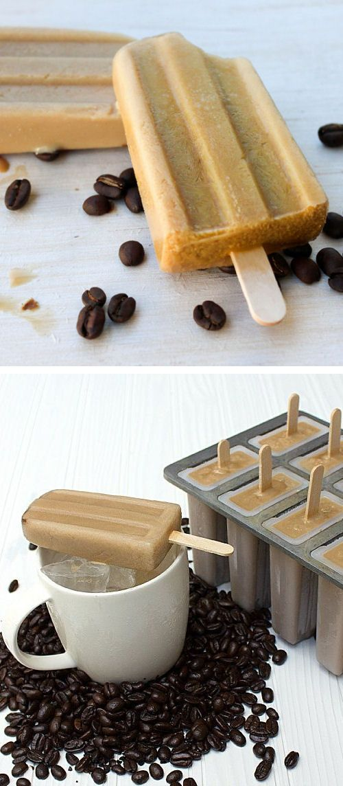 Iced Coffee Popsicles - 3 cups fresh brewed coffee cup half and half cream (10% cream) cup sugar