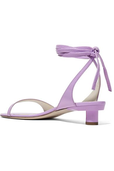 4a048432c Tibi Scott Crinkled Patent-leather Sandals - Lavender