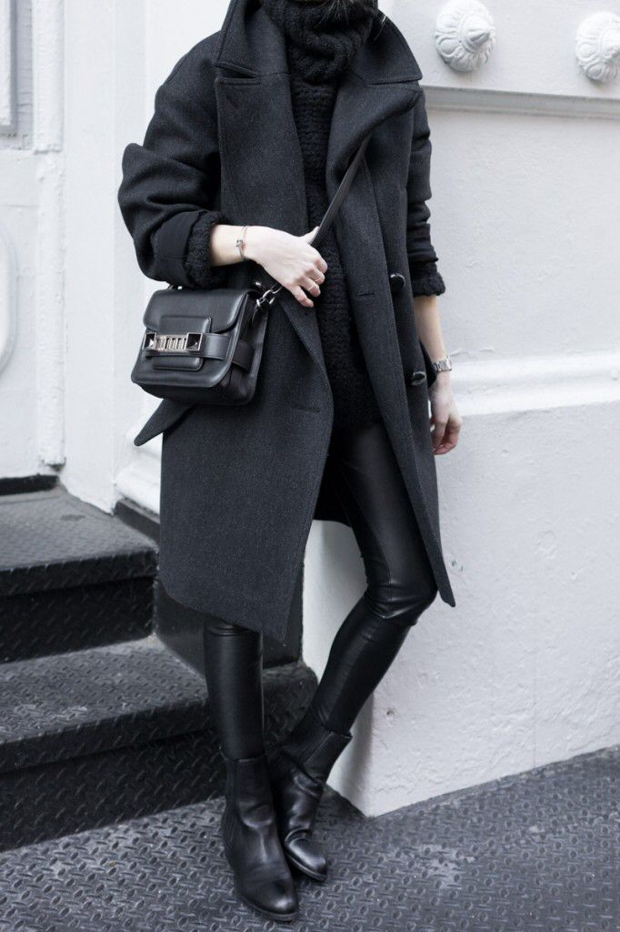 black coat, black turtleneck sweater, black leather legging, black boot, proezna schouler PS11