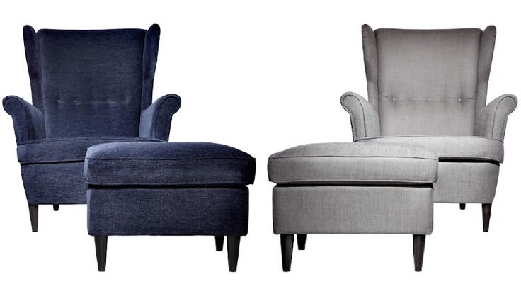 Strandmon chair. Blue velvet or gray linen. Funky reading ...