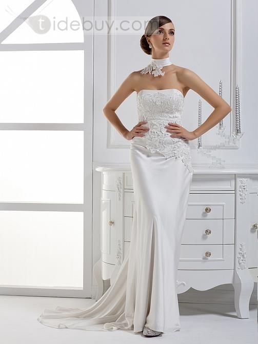 カラムストラップレスロングフロア大聖堂トレーンウェディングドレス