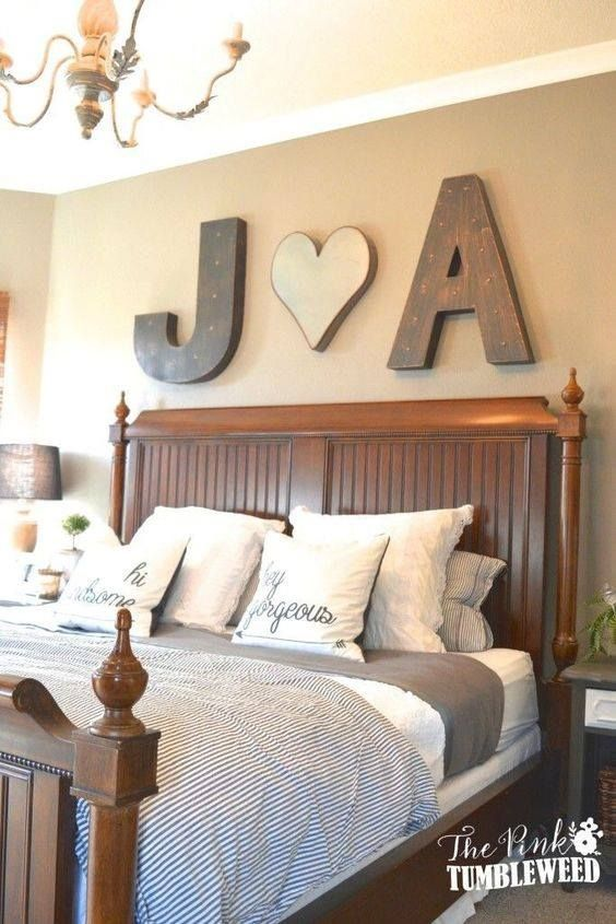 Beautiful bedroom idea!  Love the initials wall hanging over the bed.  http://involvery.com/beautiful-bedroom-ideas/