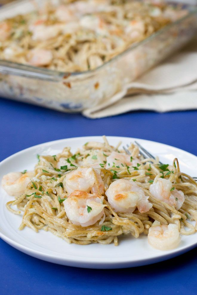 Shrimp Scampi Pasta Bake : A really quick and easy twist on the classic. You cook the noodles then toss them with a cream-cheese and garlic sauce and shrimp. Bake until it's all heated through. So good. So easy.