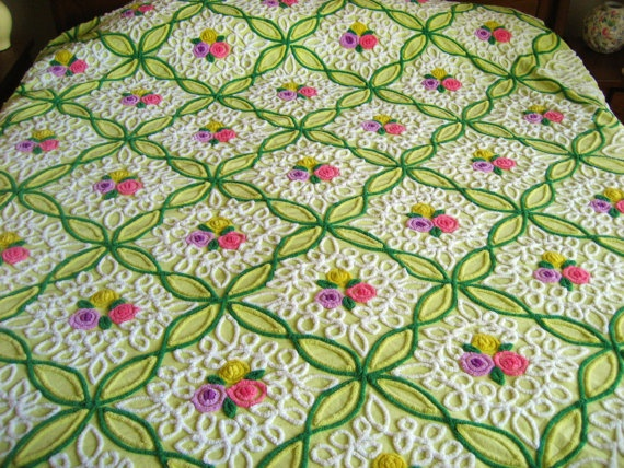 Key Lime Vintage Chenille Bedspread Lollipop