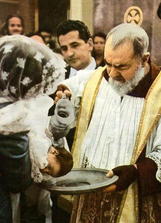 Padre Pio baptizing his nephew Michele