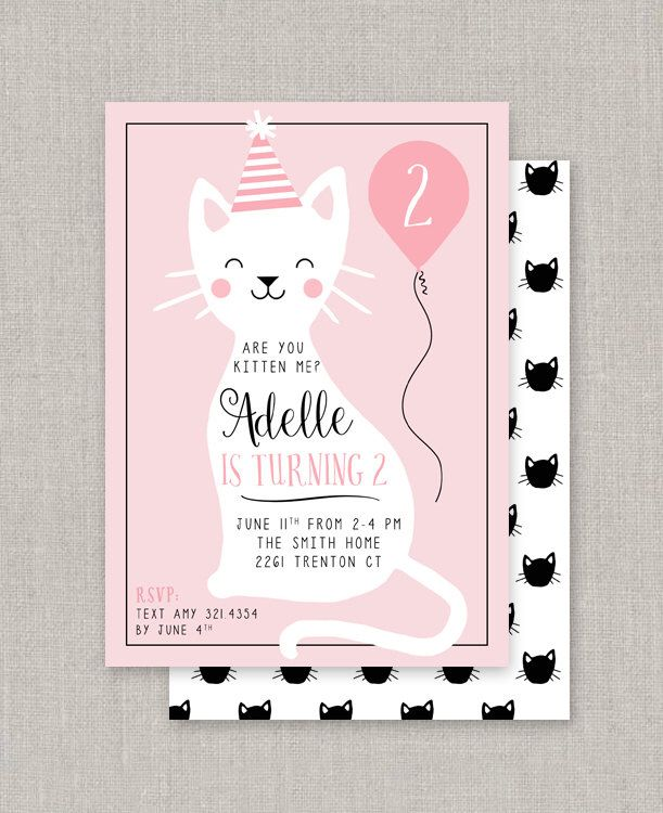 124 best birthday party invites images on pinterest birthday a kitty cat birthday invitation filmwisefo Image collections