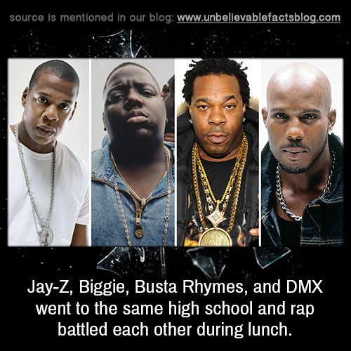 "unbelievable-facts: ""Jay-Z and Busta Rhymes went to school together and once battled with each other in their cafeteria. """