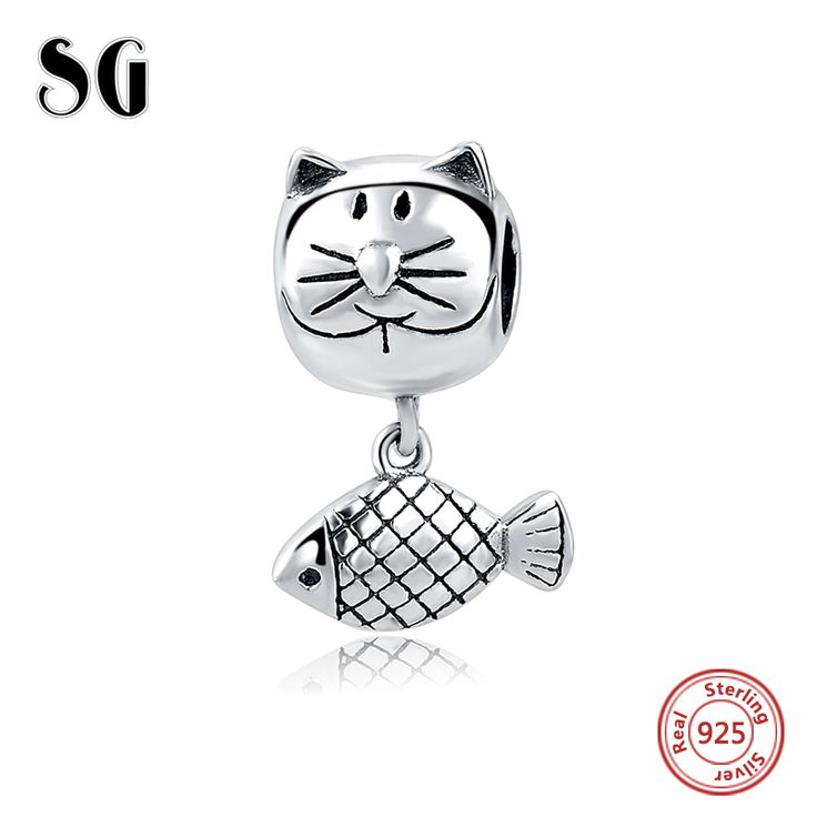 Sterling Silver Cat and Fish Charm for Bracelet. #cat #cats #kitten #kittens #catjewelry #catjewellery #kittenjewelry #catproducts #charm #charmbracelet #bracelet #catcharm #catcharms #catcharmbracelet #deal #gifts #silver #sterling #sterlingsilver