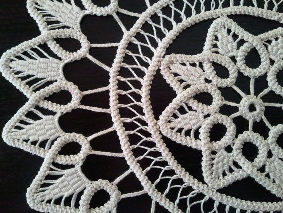 Crocheted Doily Romanian Point Lace Crochet Doily by ValeriasShop