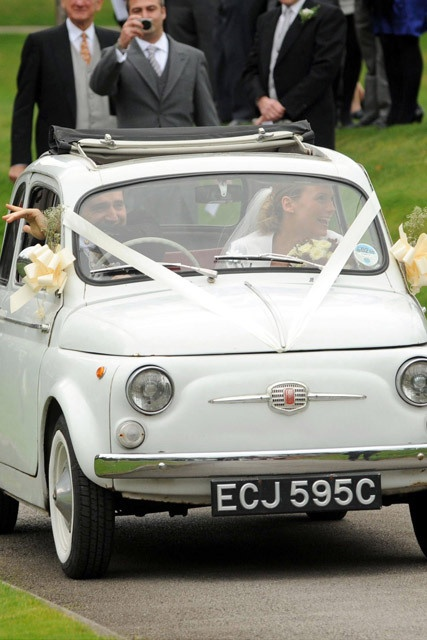 Classic Little Fiat 500 Wedding Car in perfect Ivory; iconic for wedding day transport.    Strictly Stylish Wedding Car by Tom Chambers
