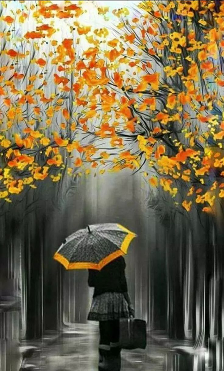 Открытки осень и дождь, красивые