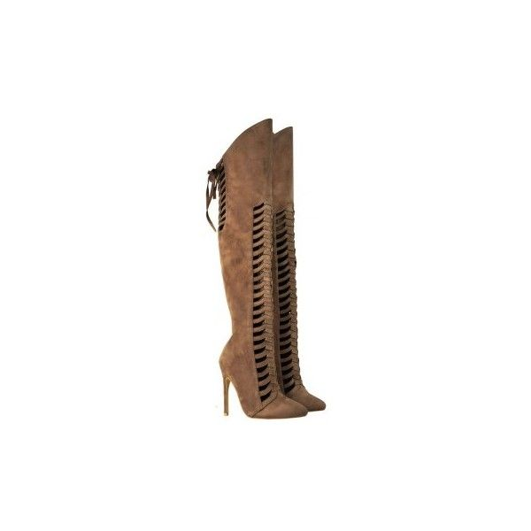 Mocha Brown Suede Over The Knee Thigh High Cut Out Lace Up Boots... ($54) ❤ liked on Polyvore featuring shoes, boots, brown lace up boots, brown boots, brown suede over the knee boots, knee high lace up boots and over the knee boots