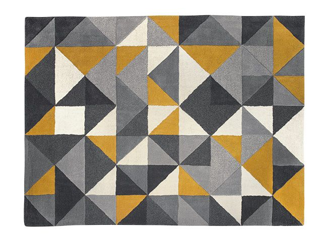 Henrik Large Hand Tufted Wool Rug 160 x 230m, Mustard and Grey