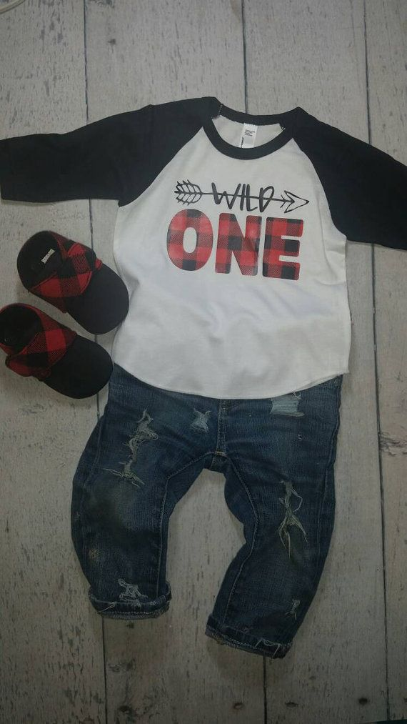 Wild one buffalo plaid raglan onesie or t shirt by PetrieDesignsOK