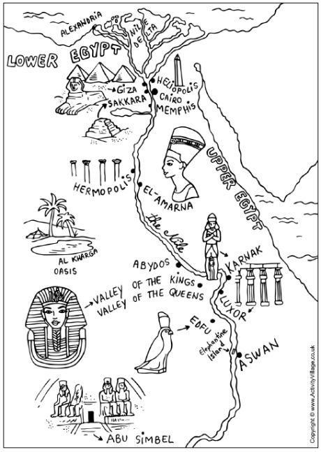 Ancient Egypt map colouring pages. Great material to add to a unit on Ancient Egypt. There are many pins on my Pinterest boards you can use for teaching about ancient civilizations.