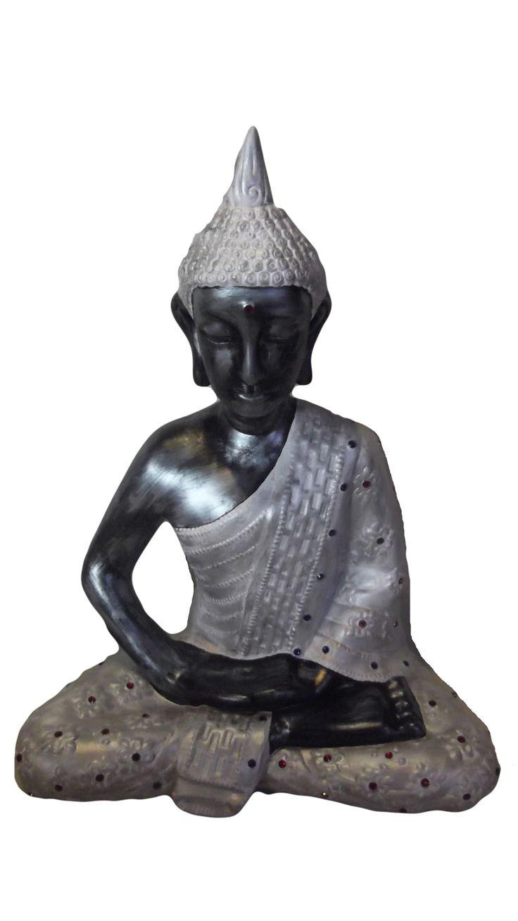 deusa sentada branco e prateado 50cm