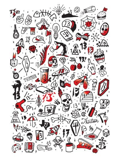Friday the 13th Tattoo Flash Art Print                                                                                                                                                      More