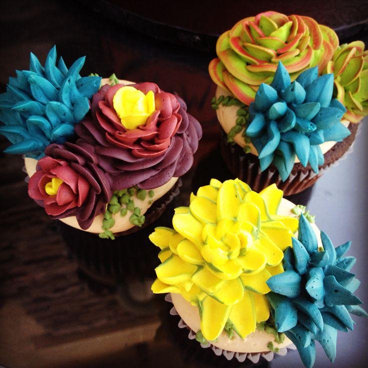 Buttercream Succulent Cupcakes by Tasteful Cakes ... Pretty Cupcake Ideas