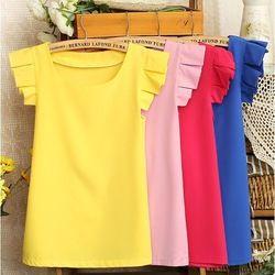 Online Shop Хит продаж 2014 года! Элегантные женские блузы однотонного цвета высокого качества с рукавом-бабочкой, из шифона, размеры M, L Aliexpress Mobile