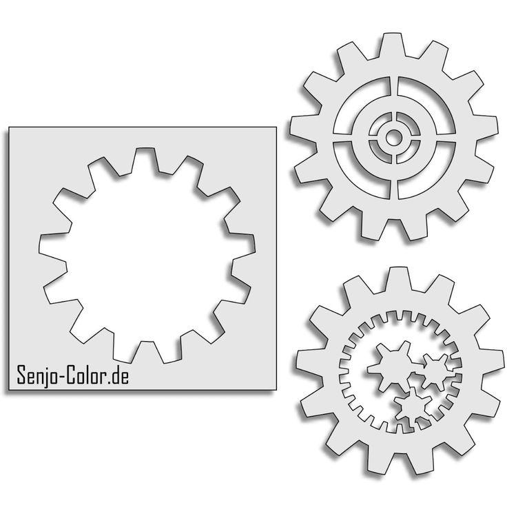 Airbrush Stencil Gear Wheel/  Zahnräder 3 teilig. Für Uhrwerke und natürlich für Steampunks!