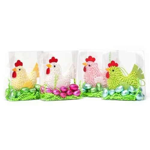 The cute hanging Easter hens come complete in cello packaging.  They sit in green tissue grass, laying gorgeous milk chocolate eggs.  These make lovely easter gifts and the hanging hen can be kept after the chocolate has gone!  £5.99 each from the Fuschia Boutique at www.fuschiadesigns.co.uk.