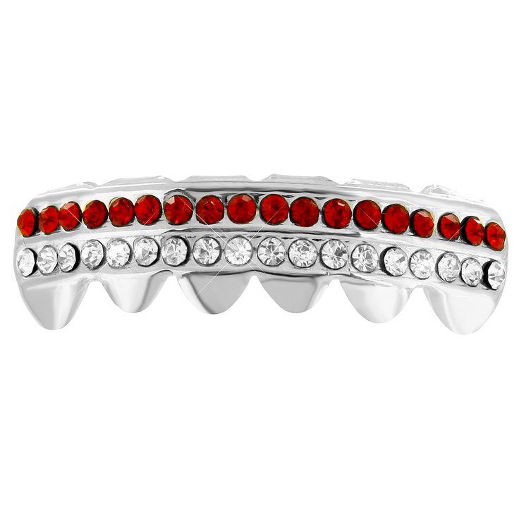 Bottom Teeth Grillz 2 Row Red White Lab Diamonds