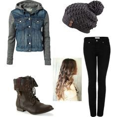 25 Winter Outfits to Copy Right Now denim vest jacket+wool beanie+skinny jeans+leather trooper boots