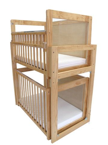 "Two ""Window"" Cribs stacked for convenient space saving use in infant care. http://www.honorrollsupply.com/products/l-a-baby-modular-window-crib-system#sthash.cVz5BpcM.dpuf"