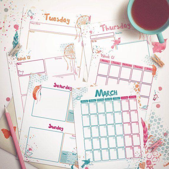 printable planner bundle bohemian girl fun and colorful artfree