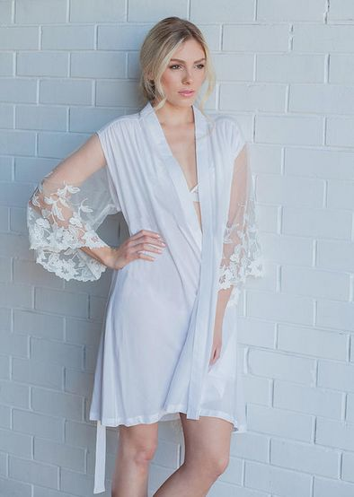 'WILD AT HEART' bridal robe 100% Rayon with sheer lace sleeve We love bridal comfies and this bridal robes is a perfect wedding day add on...even a great pick for your bridesmaid robe