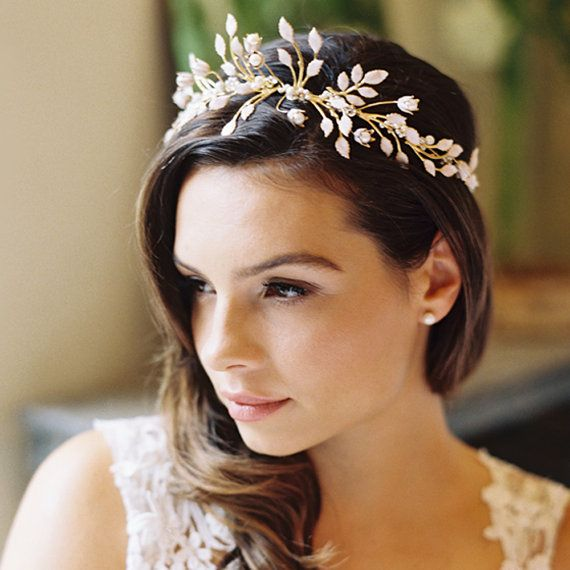 Wedding Hairstyle With Crown : Wedding leaf crown floral laurel