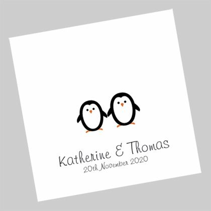 Wedding Invitations with a romantic image of two penguins in love. www.kardella.com