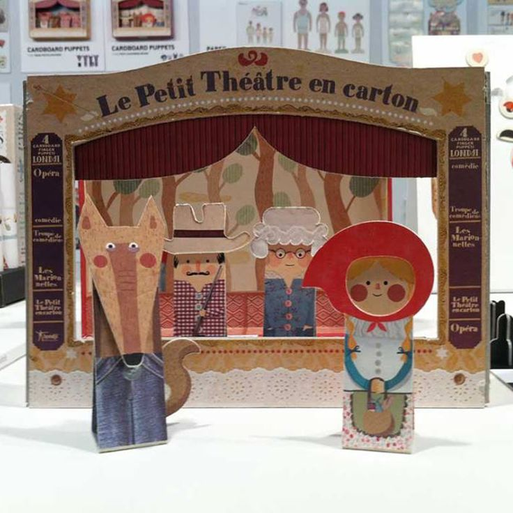 """PETIT THEATRE """"LITTLE RED"""".A theatre and 4 lovely finger puppets, all made of rigid cardboard. You will find it on http://www.tatataworld.com/product/petit-theatre-little-red"""