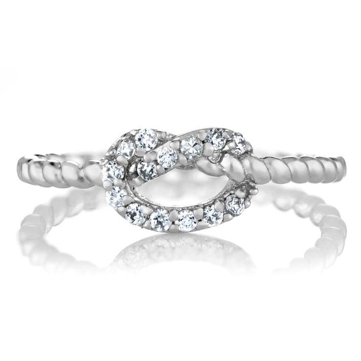 Amelia's Silvertone CZ Love Knot Ring