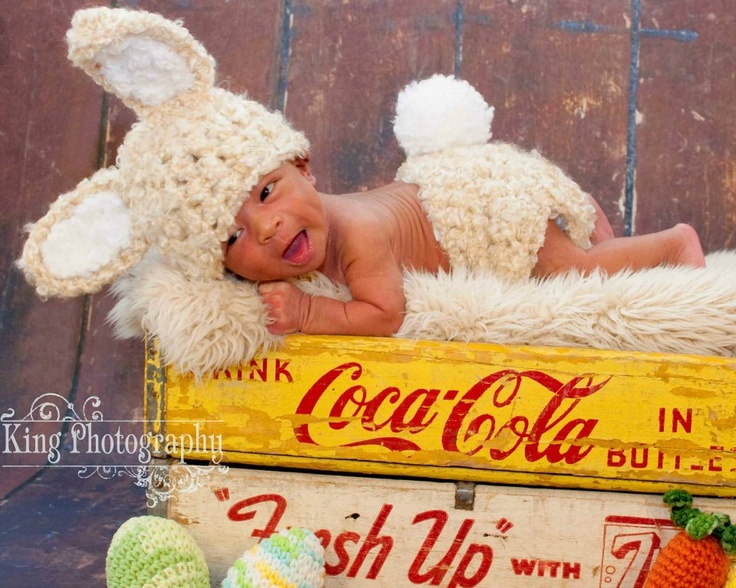 Crochet Fluffy Cream Baby Bunny Set Hat and Diaper cover
