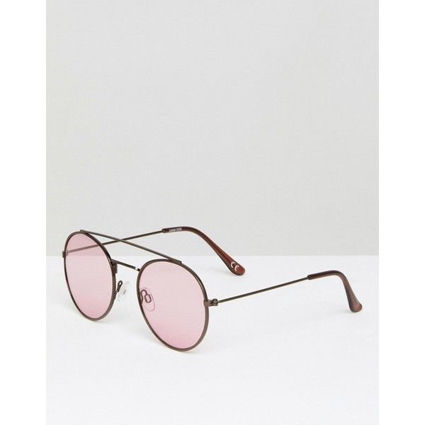 975e05be898 ASOS Round Aviator Sunglasses In Chocolate Metal Frame With Pink Lens ( 20)  ❤ liked