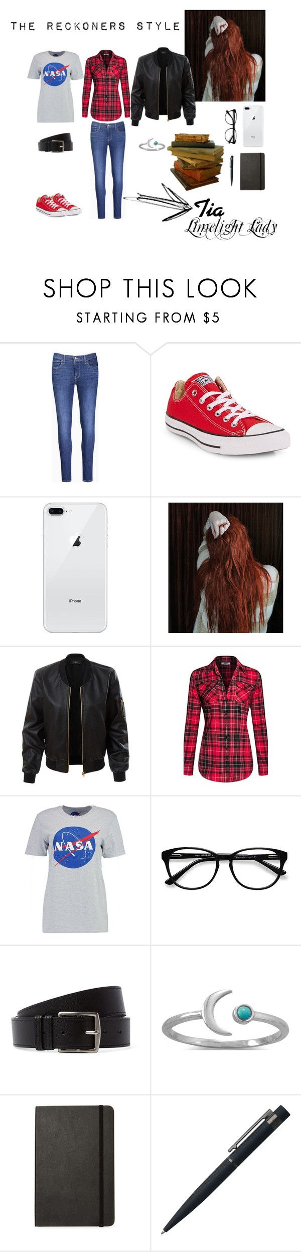 """The Reckoners Style: Tia"" by estrellesdpaper ❤ liked on Polyvore featuring Levi's, Converse, LE3NO, Boohoo, EyeBuyDirect.com, Hermès, BillyTheTree, Moleskine and John Lewis"