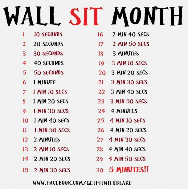 Wall Sit Challenge 1000+ images about Hea...