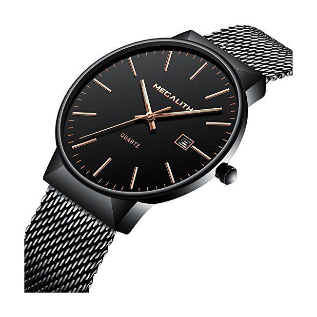 2d402ac9bd Mens Stainless Steel Mesh Bracelet Watches Men Luxury Waterproof Date  Calendar Simple Classic Design Thin Wrist Watch Gents Business Casual Dress  Analogue ...