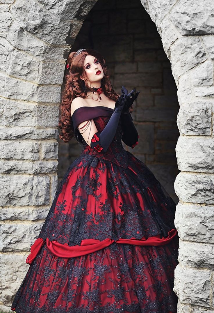 Gothic Belle Red Black Lace Fantasy Gown Wedding Holiday Upscale Costume Gothic Wedding Dress Fantasy Gown Red Wedding Dresses [ 1075 x 736 Pixel ]
