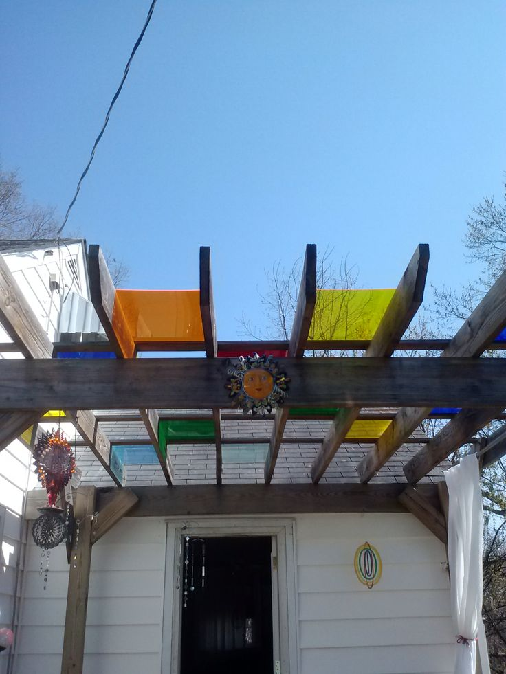 Pergola Over My Deck With Colored Plexiglass To Create